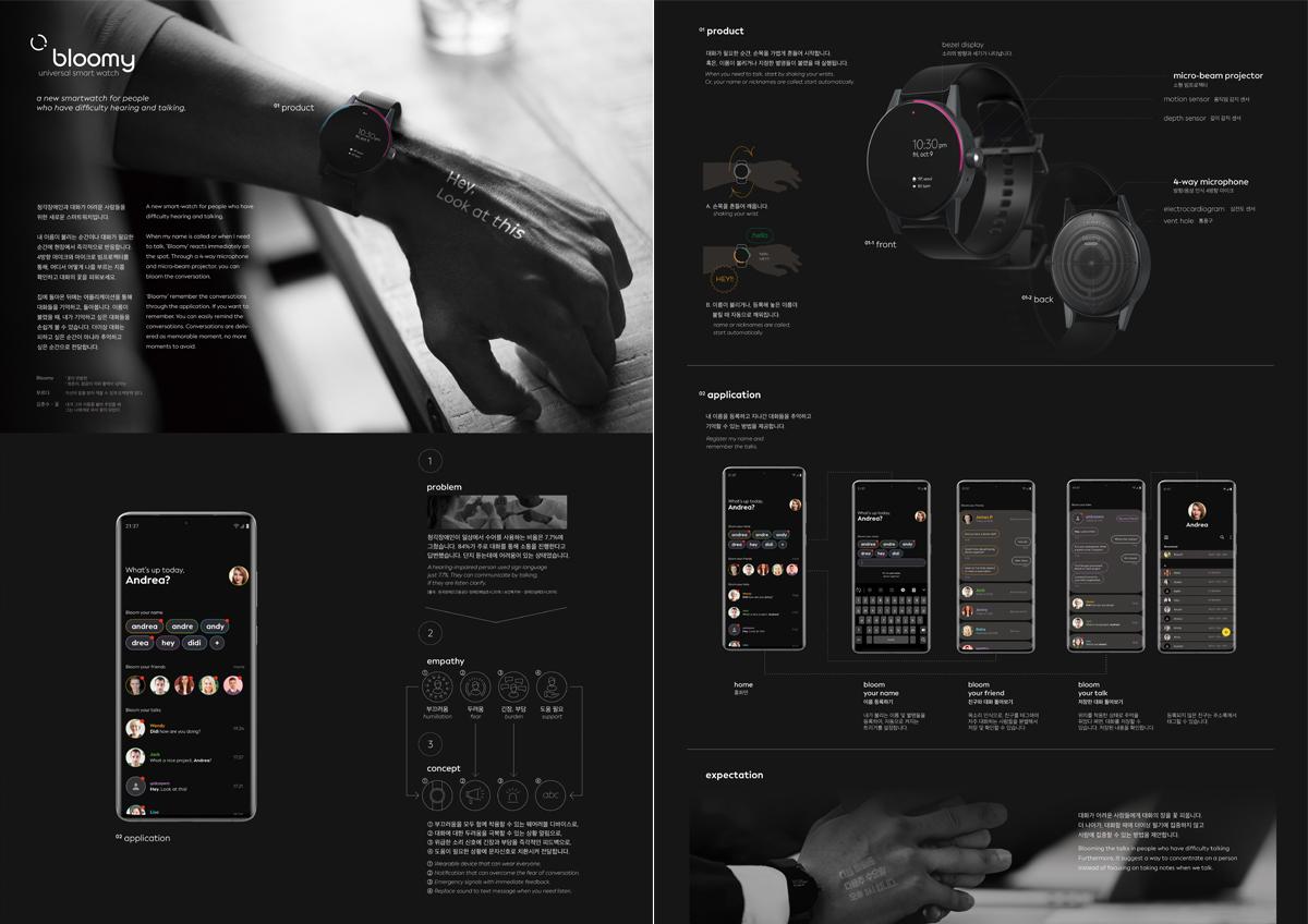 CD학과 이진원, 부산국제디자인어워드 대상 수상 첨부 이미지 -  CD학과 2학년 이진원 학생의 작품 Bloomy : universal smart watch 소개 이미지