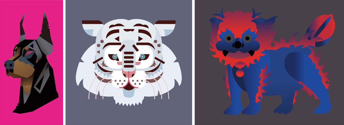 Foundation과정 'Color & Graphic Form' 수업 소개 첨부 이미지 -  동물의 단순화 작업 이미지