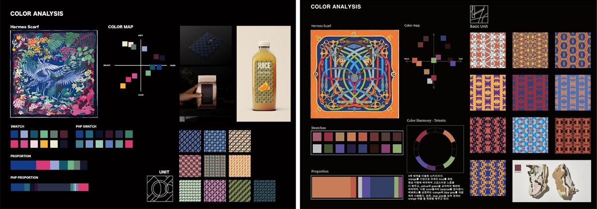 Foundation과정 'Color & Graphic Form' 수업 소개 첨부 이미지 -  컬러 스와치 분석과 컬러패턴 제작 이미지